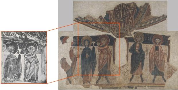 Fotografia d'arxiu. Ubicació original amb la màndorla. Apostolat i Maiestas Domini.