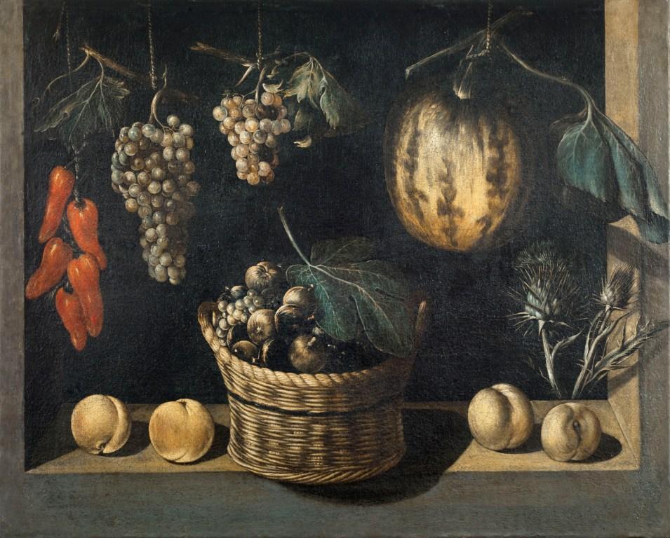 Maestro de Stirling-Maxwell, Bodegón con cesta de frutas, calabaza y uvas, h. 1615-1625