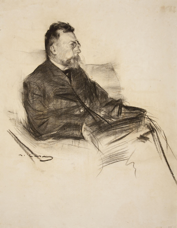 Ramon Casas. Retrat d'Àngel Guimerà, cap a 1903