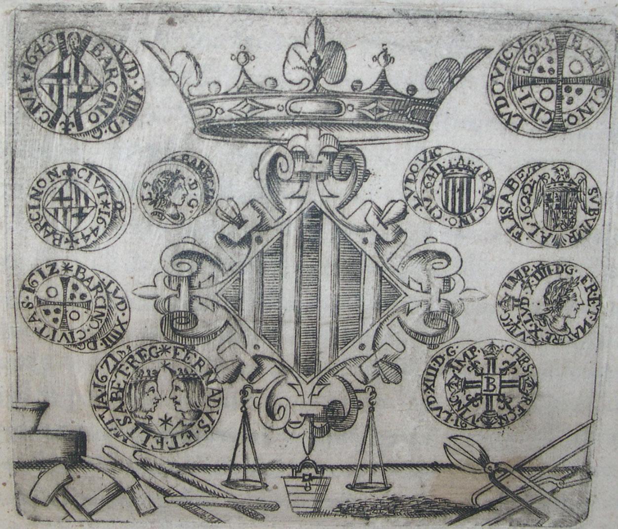 Ramon Olivet. Gravat amb al·legoria del Col·legi d'obrers i de moneders de la seca reial de Barcelona durant la Guerra dels Segadors, 1646, Centre Excursionista de Catalunya