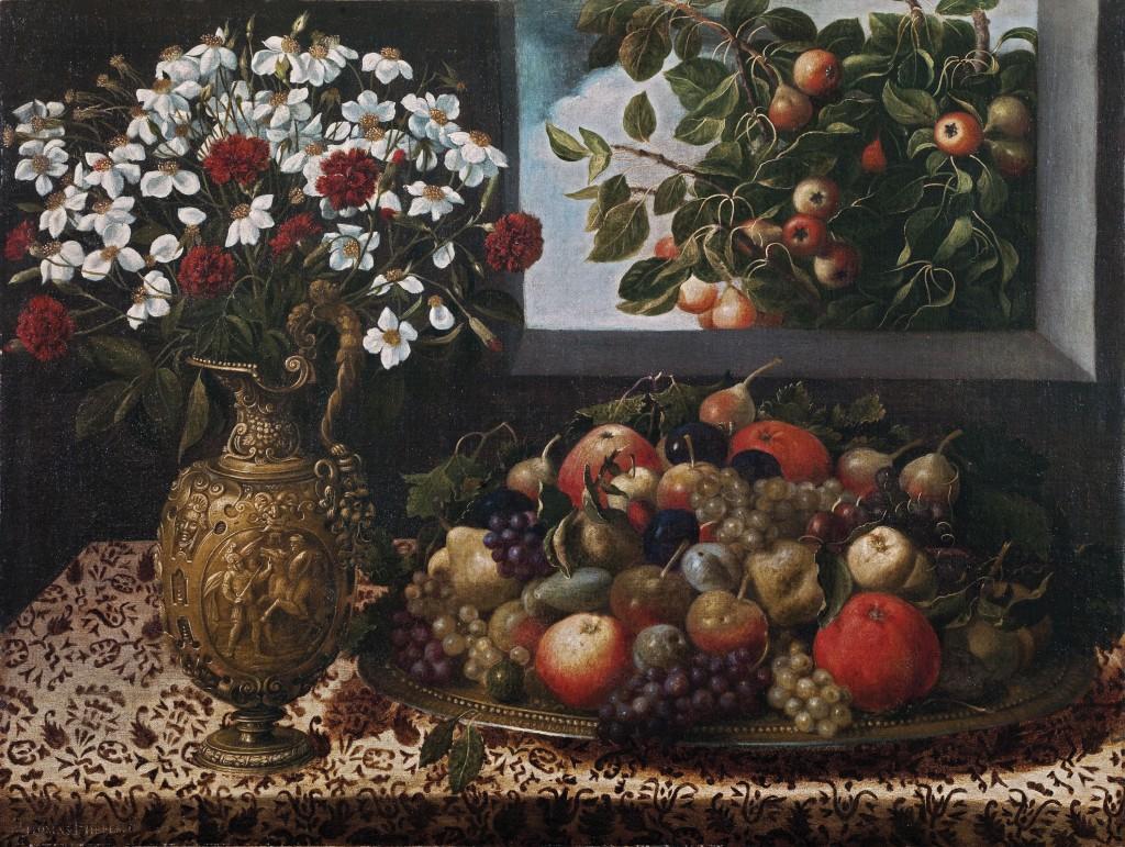 Tomás Hiepes, Bodegón con frutas y jarrón con flores, h. 1645-1650
