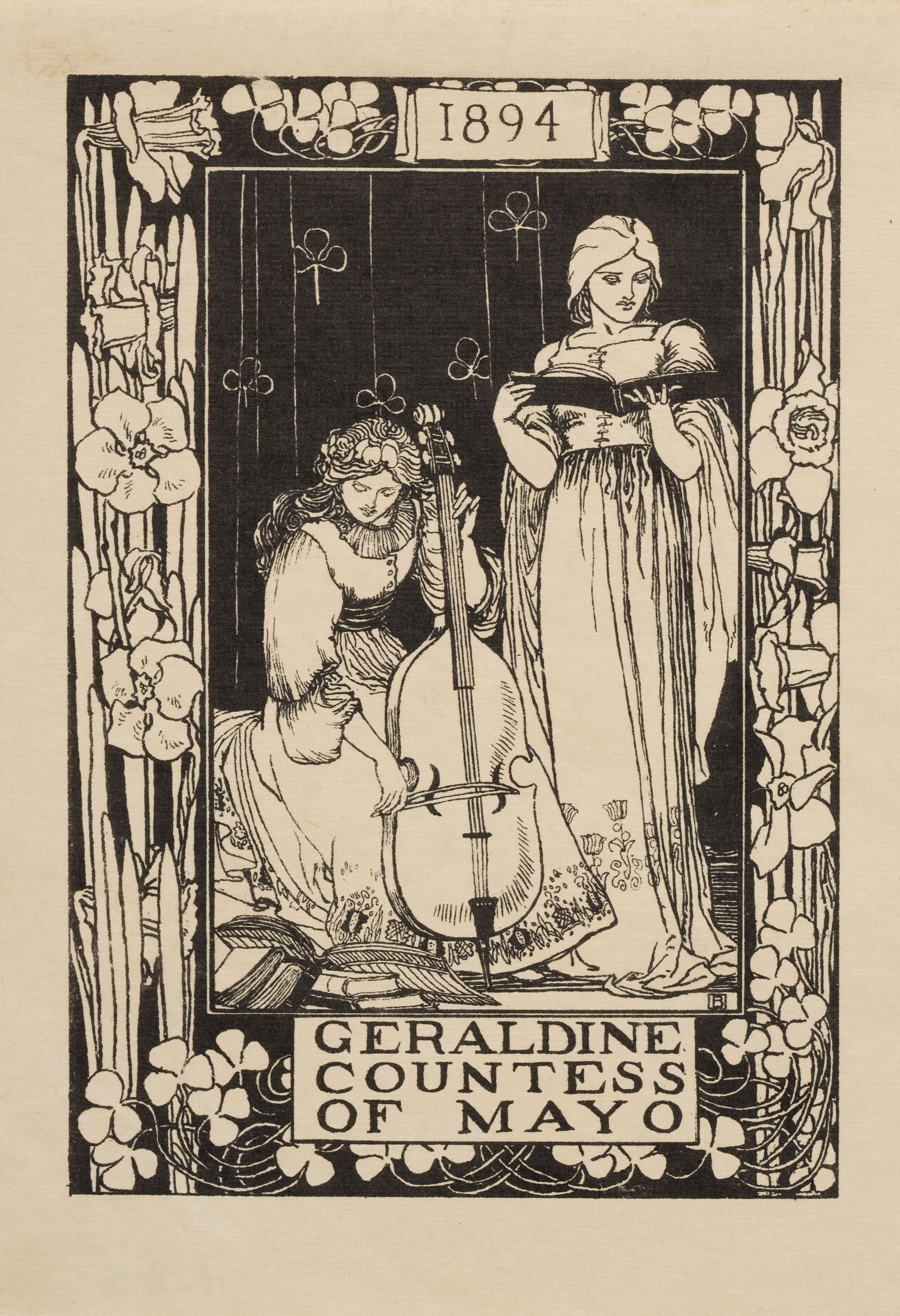 Robert Anning Bell, Ex-libris Geraldine Countess of Mayo, 1894