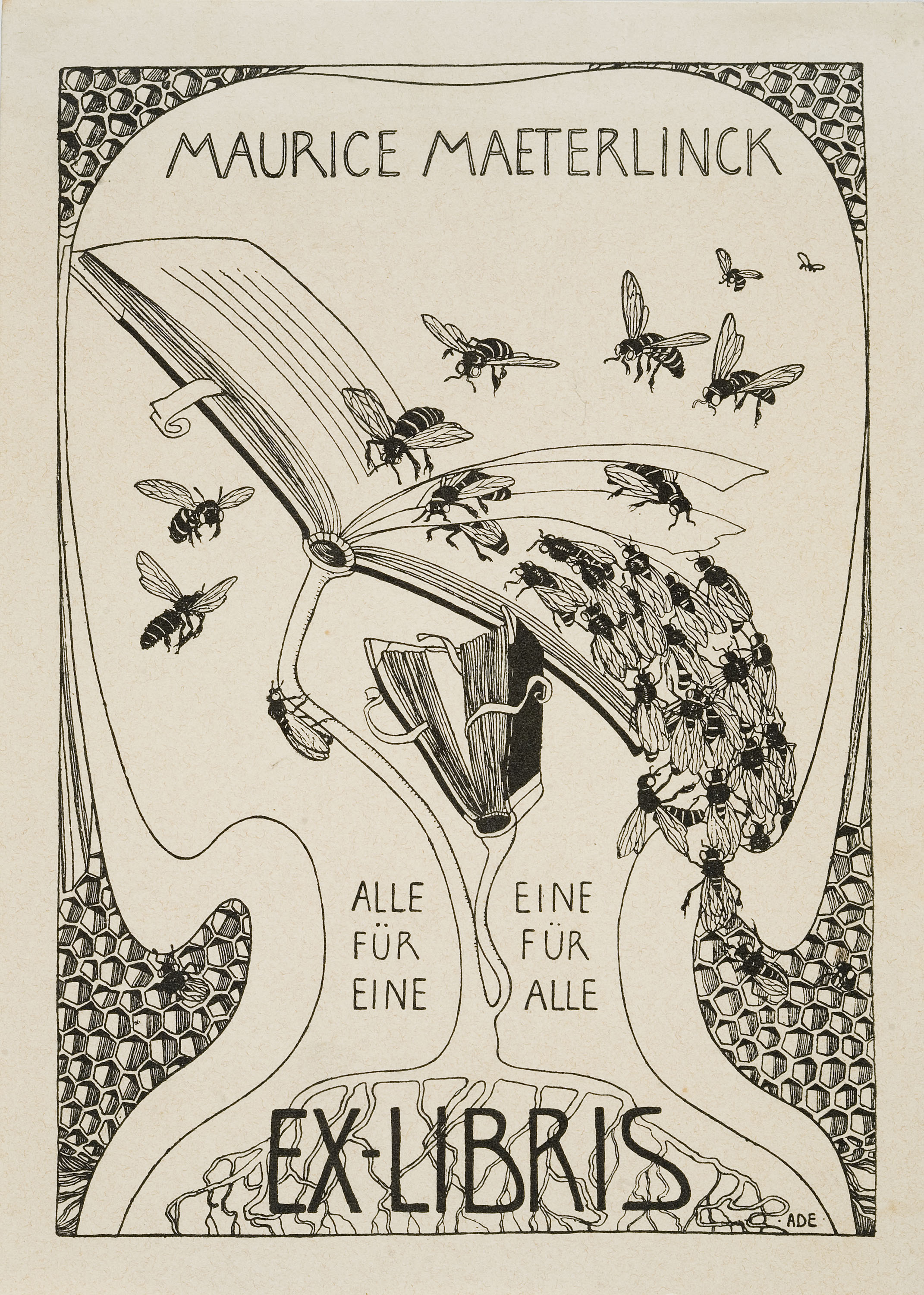 Mathilde Ade, Maurice Maeterlinck book-plate, circa 1902