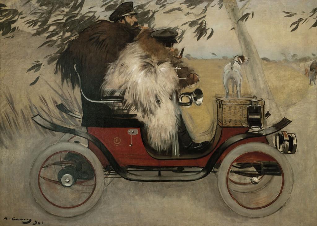 Ramon Casas, Ramon Casas i Pere Romeu en un automòbil, 1901