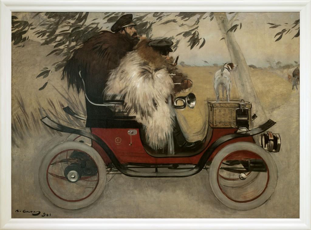 Fotografia general d'una obra. L'automòbil, de Ramon Casas