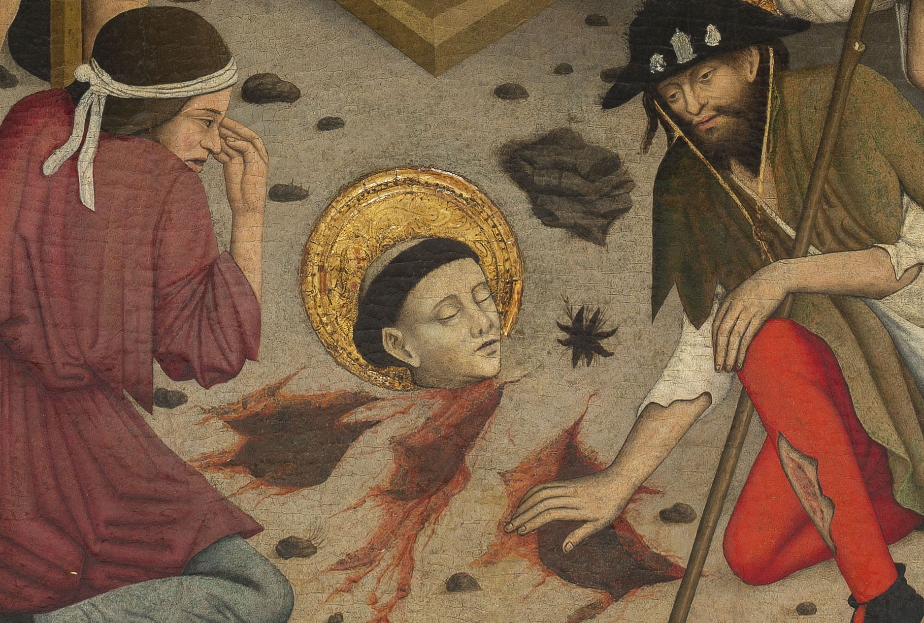Decapitación de san Baudilio (detalle), Lluís Dalmau, hacia 1448