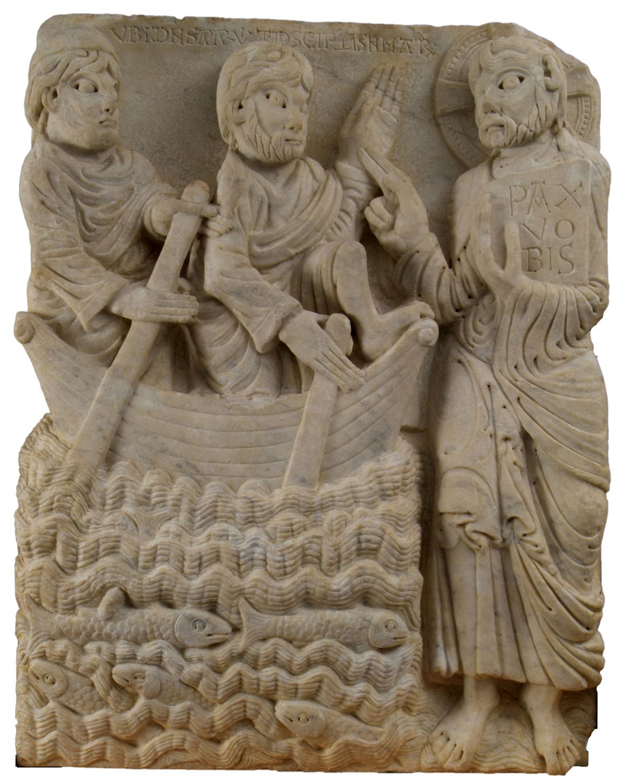 Mestre de Cabestany, Aparició de Crist als apòstols al mar. Ca. 1160-1163. Barcelona, Museu Frederic Marès