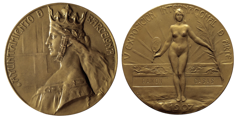 Eusebi Arnau, Anverso y reverso de la medalla en bronce de la V Exposición Internacional de Arte de Barcelona, 1907