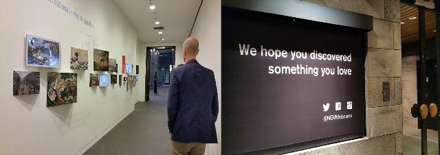 National Gallery of Victoria. A l'esquerra. Manera visual d'informar, en un lloc de pas, sobre les noves adquisicions. A la dreta, darrer missatge amable al visitant abans de sortir del museu.
