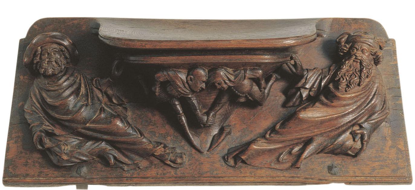 Pere Sanglada. Misericòrdia amb homes mesurant les seves forces. 1394-1399. Barcelona, Museu Nacional d'Art de Catalunya
