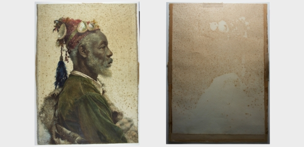The Darcawi Holy Man of Marrakech. Front and back prior to the treatment.
