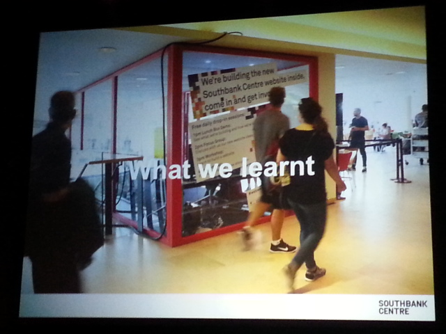 Slide showing the box inside the museum, where tech team worked during the South Bank Centre web renovation