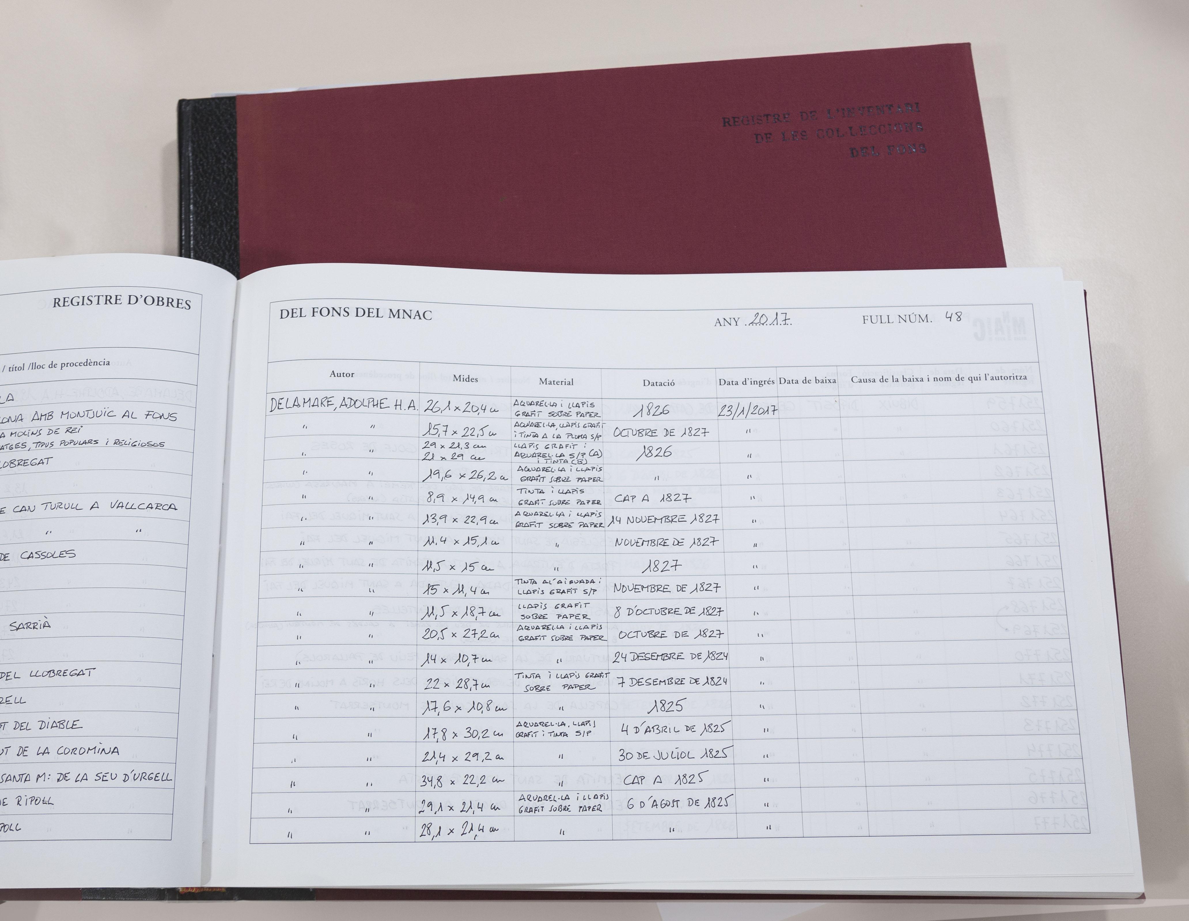 Un dels actuals llibres de Registre del Museu Nacional