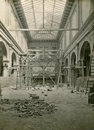 In the opposite wing of the central area where is it located the existing skylight a Gothic art section was installed
