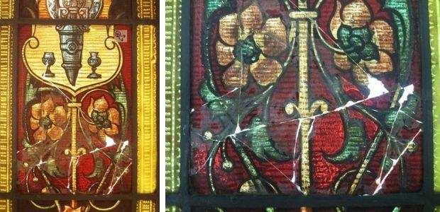 A. Rigalt y Cª. Barcelona, Josep Lluís Pellicer, dibuix, Al·legoria de l'Exposició de Belles Arts, Al·legoria de l'Exposició de Belles Arts (1896). Vidre plaqué amb decoració de grisalles i groc d'argent, que presenta moltes fractures i va ser intervingut, en el passat, afegint un paper encolat per evitar la pèrdua dels fragments de vidre (Plafó central amb llum transmesa)