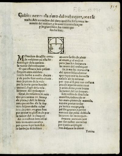"""Anónimo. Coplas nuevas a la rima del """"trabuquet"""", Imprenta de Joan Amello, 1611. Biblioteca de Cataluña"""