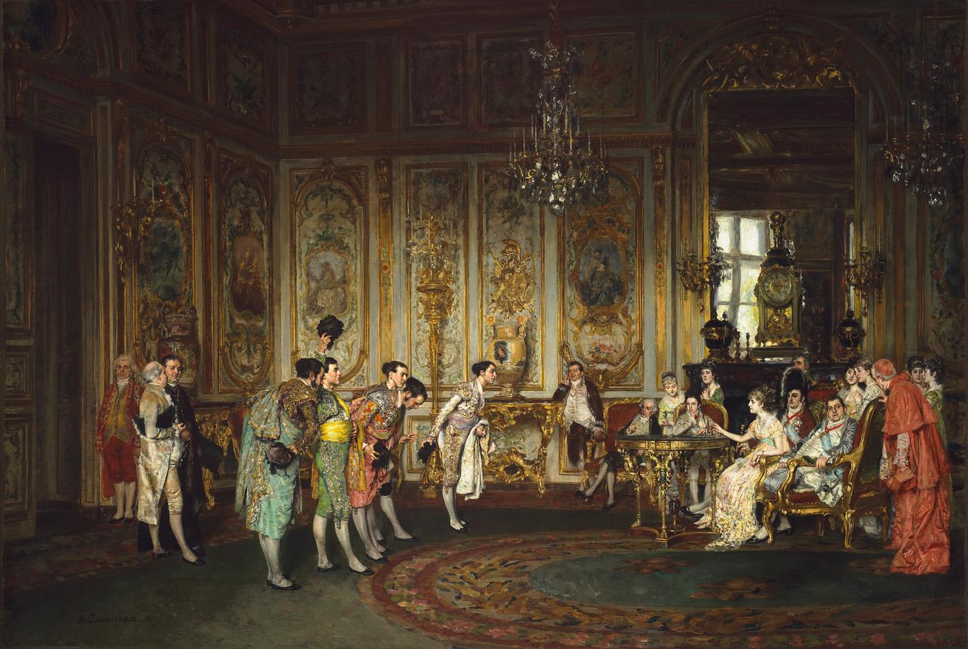 Antoni Casanova Estorach, Els favorits de la cort de Ferran VII, 1887. Font: Meadows Museum Dallas