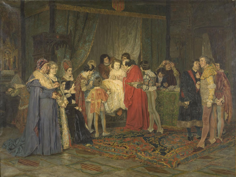 Antoni Casanova Estorach,Joan de Fivaller reivindicant els furs de la ciutat davant de Ferran d'Antequera, malalt, 1875