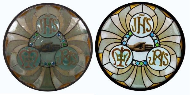 Antoni Gaudí, Enric Monserdà, Taller Amigó, Rosassa amb l'ull etern (cap a 1900-1902). Després del tractament (sense llum transmesa (esq.) i amb llum transmesa (dreta))
