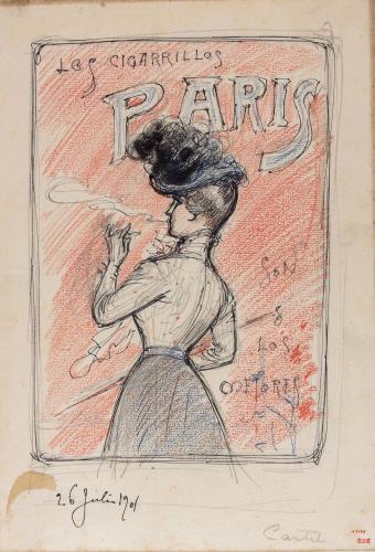 Preparatory drawing dor the poster 'Los Cigarrillos Paris son los mejores'