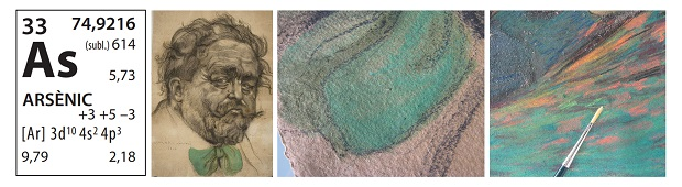 Detail of drawings coloured with pastels that contain the green pigment composed of copper acetoarsenite.