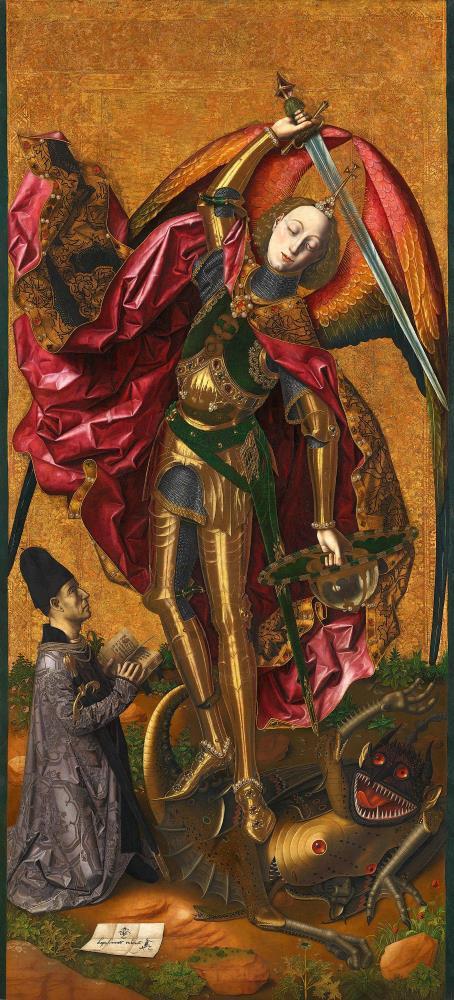 San Miguel triunfante sobre el demonio con el donante Antoni Joan, 1468