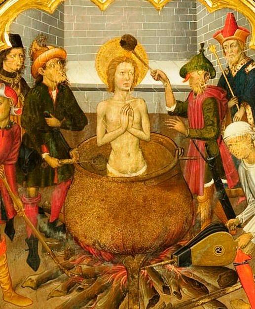 Bernat Martorell, Martiri de sant Joan Evangelista a la caldera d'oli bullent, compartiment de la predel•la del Retaule dels sants Joans de Vinaixa (Garrigues), c. 1440