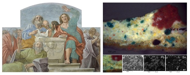 Identification of chrom yellow and tin in a stratigraphy from the work by Annibale Carracci,  Apostles around the Empty Sepulchre.