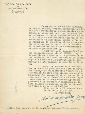 Carta de la ràdio. Fons Biblioteca Joaquim Folch i Torres