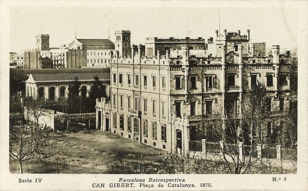 Casa Gibert a la plaça de Catalunya. Fons de postals Llegat Matas-Ramis de la Biblioteca Joaquim Folch i Torres
