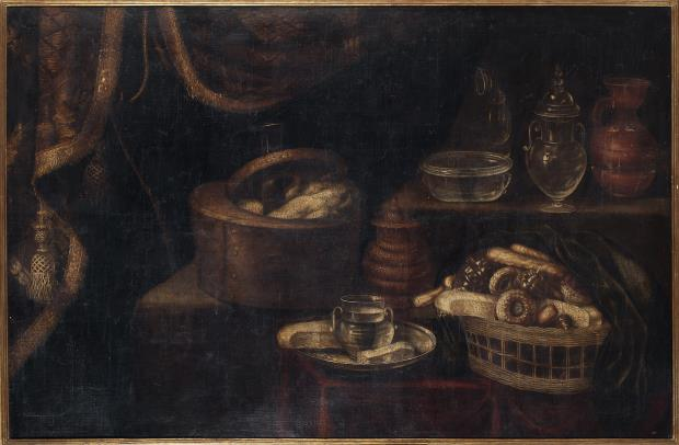 Antonio Ponce, Basket of Sweets, Honey Pot, Glass Receptacles and Chocolate Pot, 1635-1640