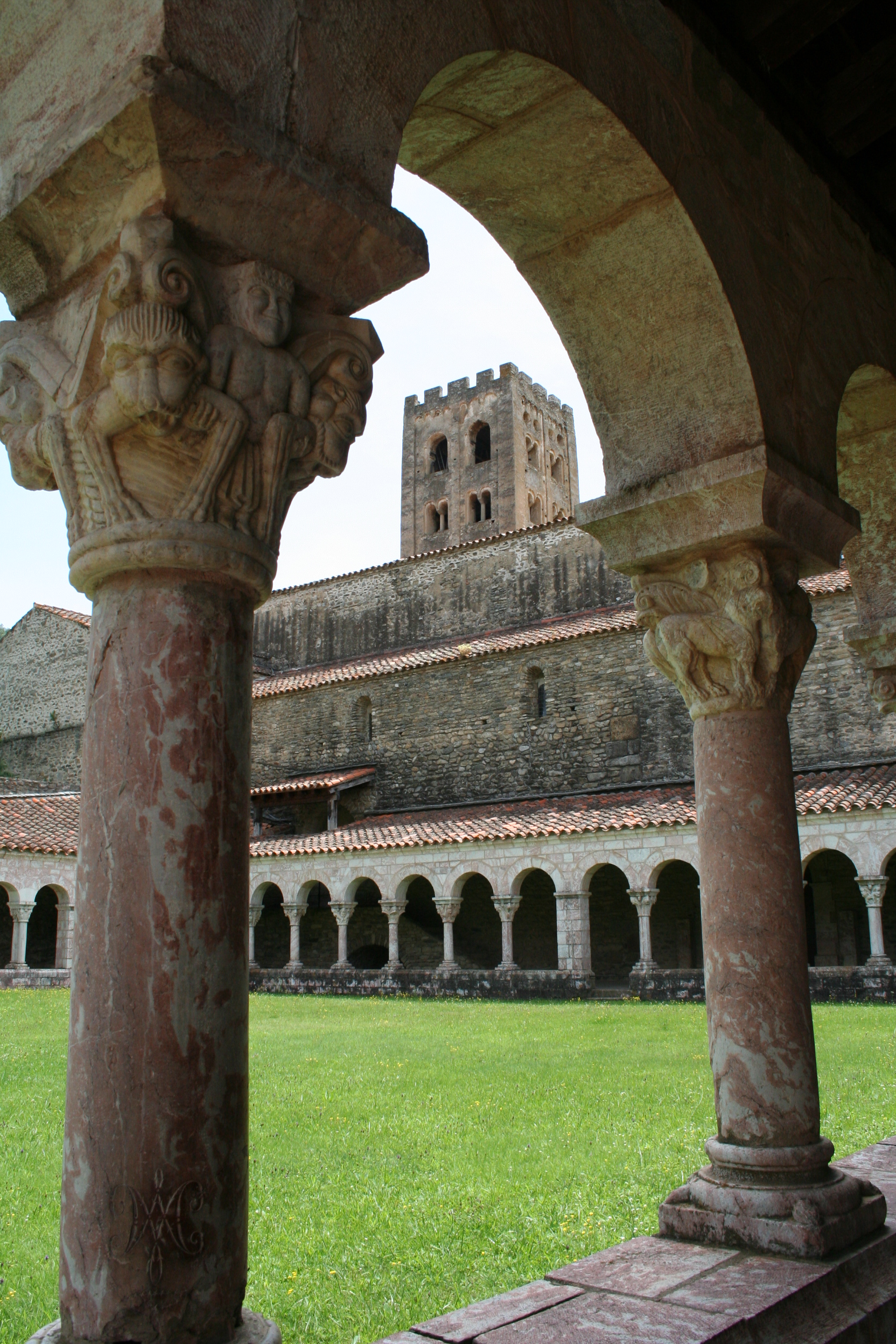 The cloisters and the church of Sant Miquel de Cuixà