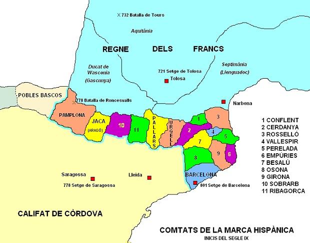 Marca Hisànica i comtats catalans a inicis segle IX