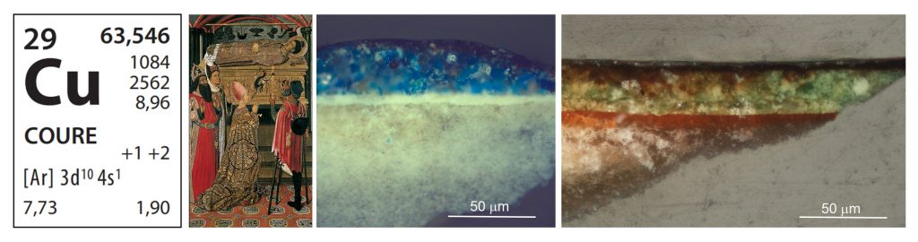 Stratigraphies ofmicro-samples of darkened polychromy of blue (azurite) and green (copper) in the altarpice of Saint Stephen from Granollers