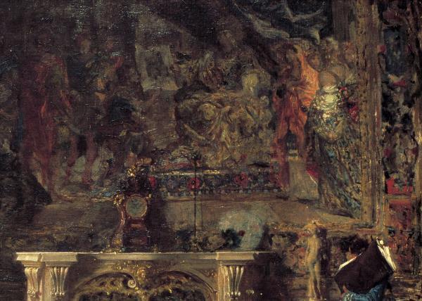 Detall del tapis El col·leccionista d'estampes, 1866