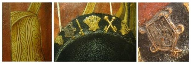 (20) Detail of the bag with the decorative drawing and the cape, where some lines of the preparatory drawing are made evident which accentuate the shading. (21) Detail of the black hat with white touches to subtly accentuate the volume. The flags are done with golden stucco relief, except the second from the left. (22) Detail of the single-sided standard or ensign, testimony of the visit to a sanctuary. In the painting the artist has done it with stucco relief and metal sheet. Photos: Núria Prat i Grau