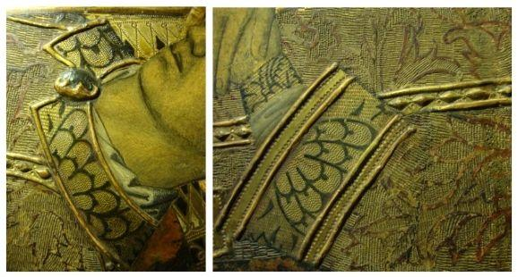 (26) Detail of the ruff of the dalmatic, with a brooch of gold below which reveals the amice. (27) Detail of the grazing light of the cuffs of the dalmatic and the cuff of the tunic that, like the ruff and the adornment of the alb, present the same ornamental fabric. Photos: Núria Prat i Grau