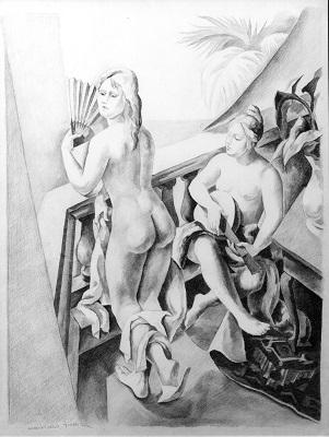 Dibuix preparatori, a llapis, de l'obra Noies al balcó, del 1924. Col·lecció particular
