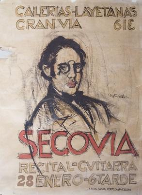 Marià Andreu, Dibuix preparatori per al cartell «Segovia / recital de guitarra» a les Galeries Laieteans, 1916