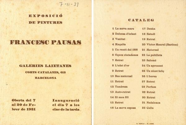 Leaflet of the exhibition at the Galeries Laietanes, 1931. Source: Library of Catalonia. Barcelona