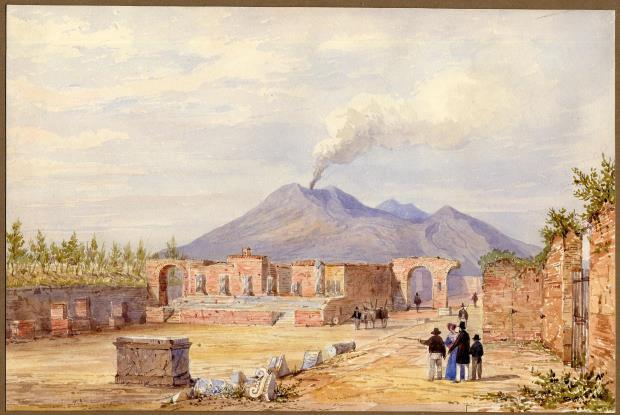 El Vesuvi des del fórum de Pompeia, Frances Arundal, cap a 1835. © The Trustees of the British Museum