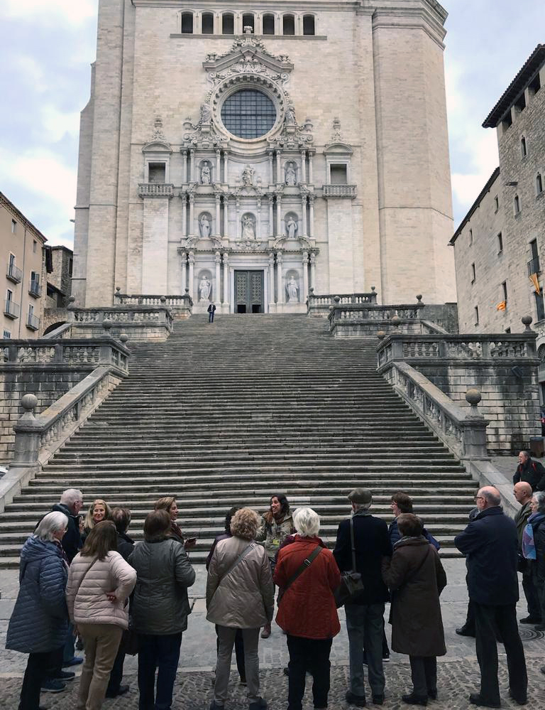 On the stairs of the Girona Cathedral
