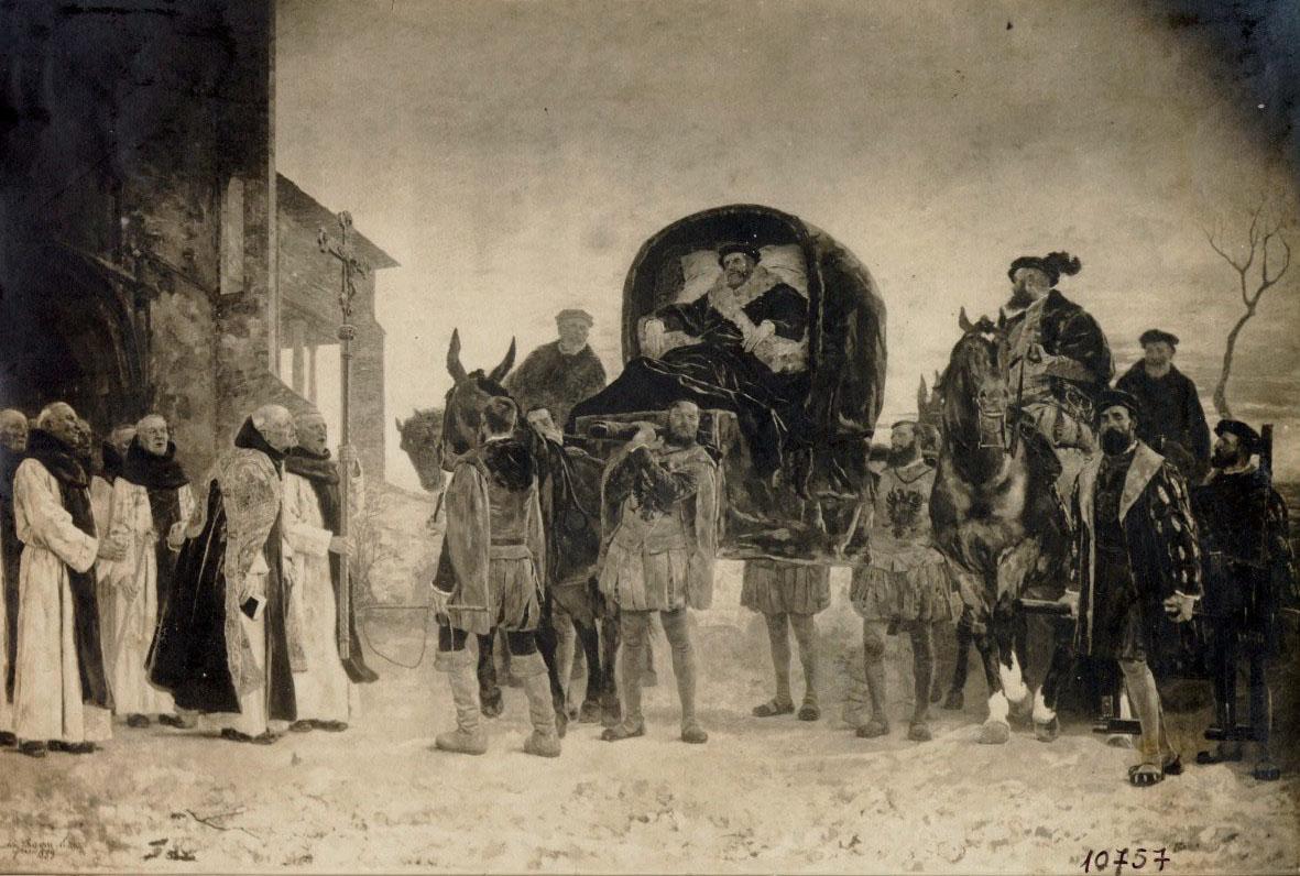 Antoni Casanova Estorach, Entrada del rei Carles V al monestir de Yuste, 1889