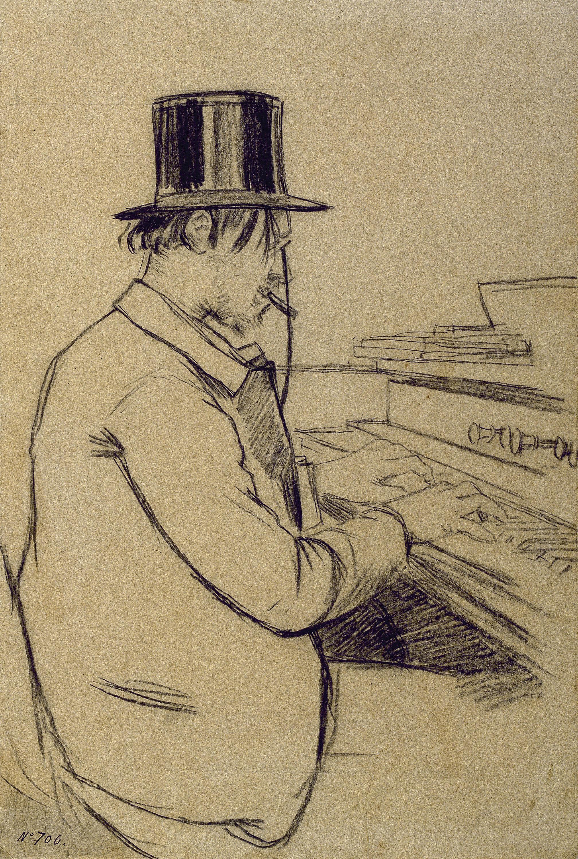 Santiago Rusiñol, Erik Satie tocando el armónium, 1891