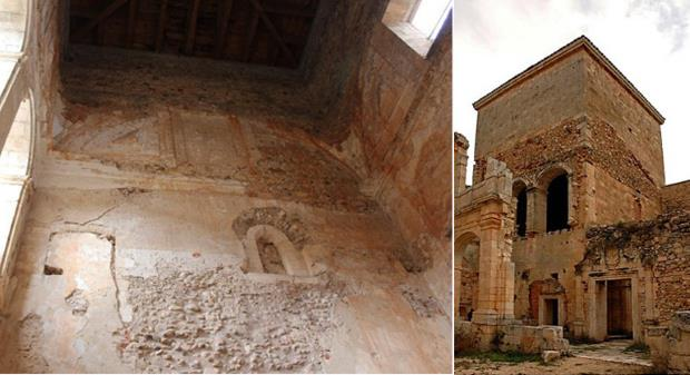The current state of the tower and chapterhouse. Photographs: left, Àlex Massalles; right,
