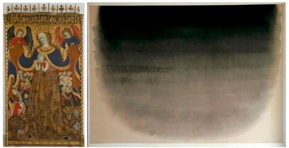 Eva Lootz. Sense títol, 1980  + Bonanat Zaortiga, Mare de Déu de la Misericòrdia, 1430-1440