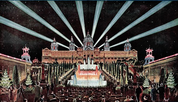 Barcelona International Exposition. Lighting effects of the fantastic waterfalls of the Palau Nacional and its powerful searchlights. La Ilustración iberoamericana, extraordinary issue, 1930, number 2