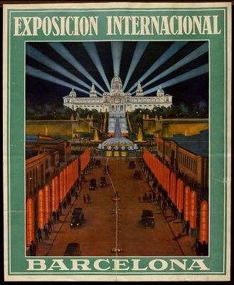 "Poster. Perspective of the Maria Cristina avenue with the luminous obelisks popularly known as ""asparagus""; in the background, the Magic Fountain and the waterfalls that descend from the Palau Nacional, with the nine searchlights that crown it, 1929"