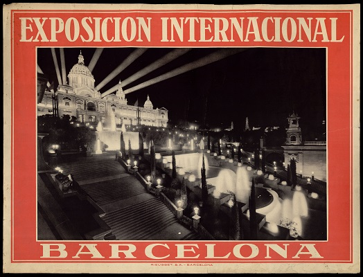 Poster of the night-time photographic image of the Palau Nacional and the illuminated fountains in the park of Montjuïc , 1929 – AFB