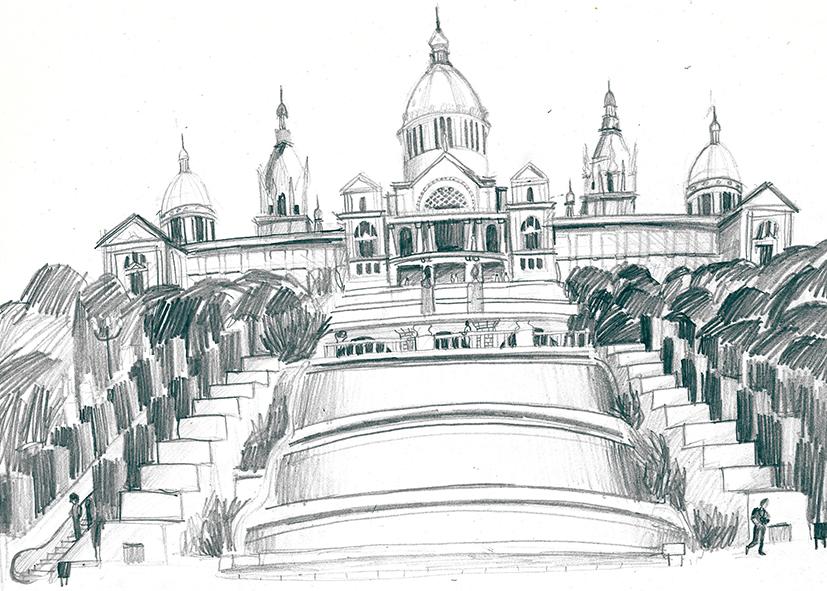 dibuix Palau Nacional i fonts de Montjuïc